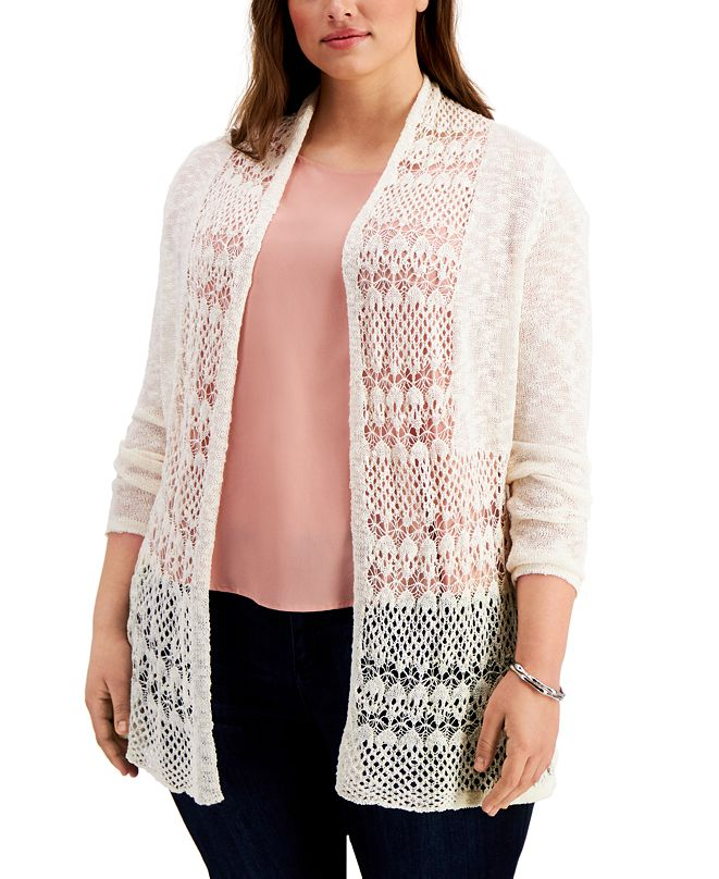 Belldini Plus Size Open-Knit Cardigan