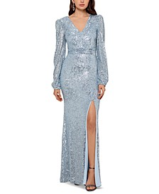 Petite Sequin V-Neck Gown