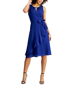 Petite Crinkled Faux-Wrap Midi Dress