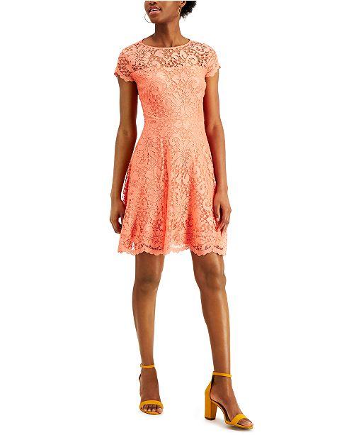 kensie Floral-Lace Fit & Flare Dress