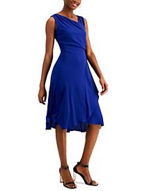 Asymmetrical-Neck Midi Dress
