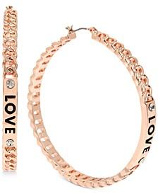 "Rose Gold-Tone Large Pavé Love Chain-Link Hoop Earrings, 2.4"""