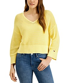 Cotton Open-Stitch Sweater