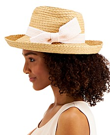INC Straw Bow Kettle Hat, Created for Macy's