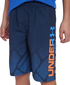 Big Boys Border-Print Logo Swim Trunks