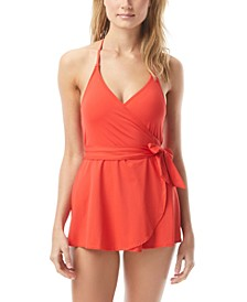 V-Neck One-Piece Swimdress