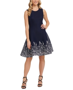 Dkny EMBROIDERED MESH FIT & FLARE DRESS