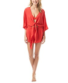 Convertible Tie-Front Romper Cover-Up
