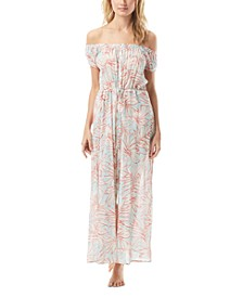 Printed Off-The-Shoulder Cotton Cover-Up Maxi Dress