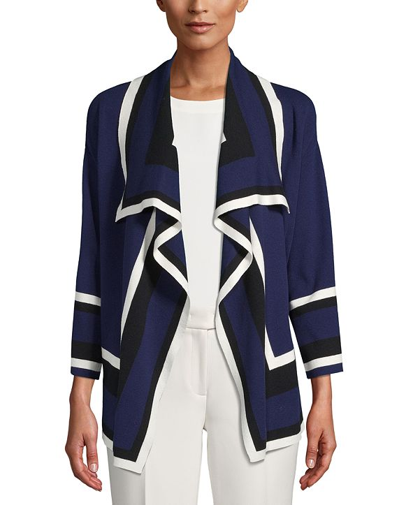 Anne Klein Draped Colorblocked Cardigan