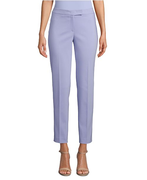 Anne Klein Double-Weave High-Rise Ankle Pants