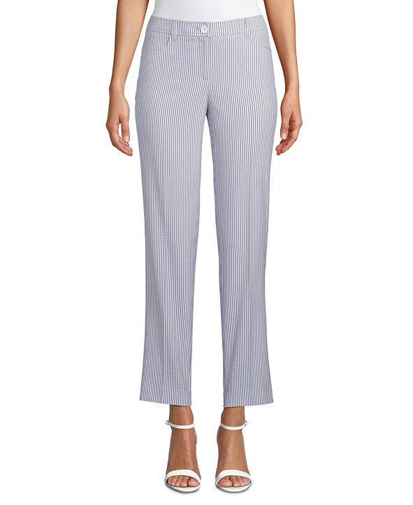 Anne Klein Seersucker High-Rise Pants