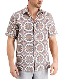 Men's Medallion-Print Linen Shirt, Created for Macy's