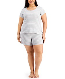 Plus Size Striped Shorts Pajamas Set, Created for Macy's