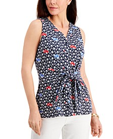 Printed Tie-Front Sleeveless Top, Created for Macy's