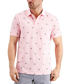Men's Stretch Palm Tree Pattern Polo Shirt, Created for Macy's