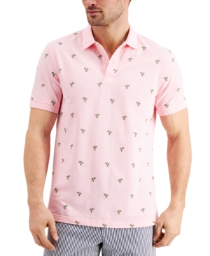 Men's Stretch Tropical Print Polo Shirt
