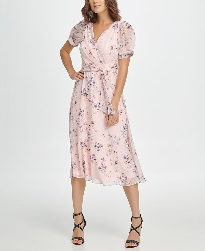 DKNY Floral Puff Sleeve V-Neck Midi Dress