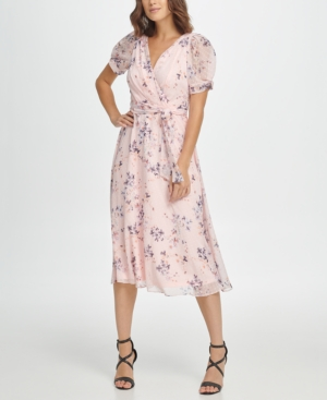 Swing Dance Clothing You Can Dance In Dkny Floral Puff Sleeve V-Neck Midi Dress $89.99 AT vintagedancer.com