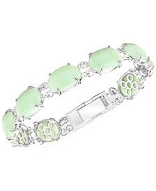 Green Jade Link Bracelet in Sterling Silver