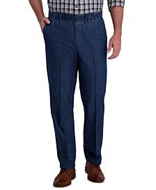 Men's Premium Classic-Fit Wrinkle-Free Stretch Elastic Waistband Denim Dress Pants