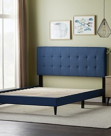 Upholstered Platform Bed Frame with Square Tufted Headboard, Twin Xlong