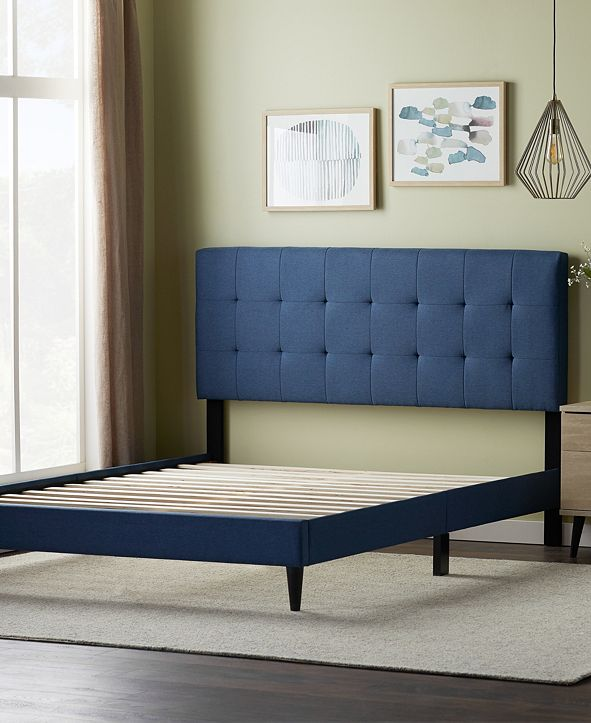 Dream Collection Upholstered Platform Bed Frame with Square Tufted Headboard, Twin Xlong