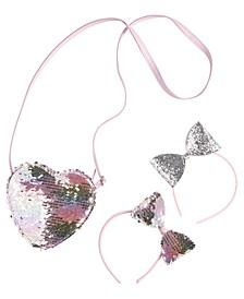 Little Girls Sequin Heart Purse & Two Headbands