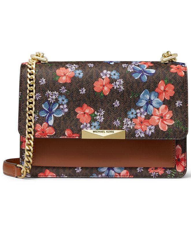 Michael Kors Jade Signature Floral Gusset Shoulder Bag