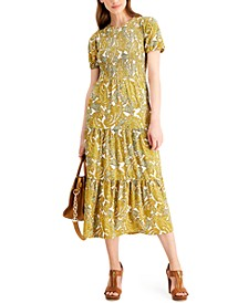 Paisley Smocked Midi Dress, Regular & Petite