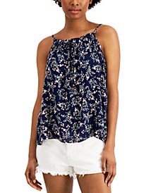 Juniors' Printed Ruffle-Trimmed Tank Top