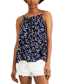 Hippie Rose Juniors' Printed Ruffle-Trimmed Tank Top