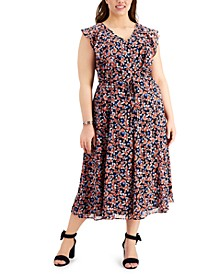 Plus Size Gansette Floral Flutter-Sleeve Dress