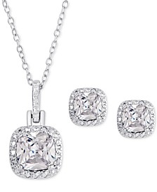 2-Pc. Set White Topaz Pendant Necklace & Matching Stud Earrings in Sterling Silver