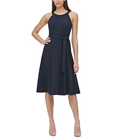Belted Fit & Flare Dress