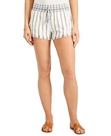 Juniors' Stripe Smocked Shorts