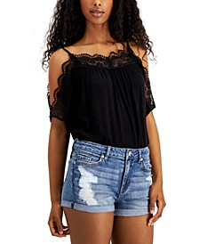 Juniors' Lace Cold-Shoulder Top