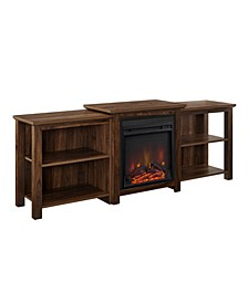 "70"" Tiered Top Open Shelf Fireplace TV Console"