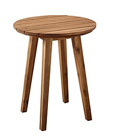 "20"" Acacia Wood Outdoor Round Side Table"