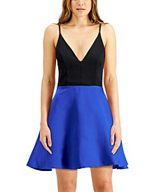 Speechless Juniors' V-Neck Satin Skirt Skater Dress