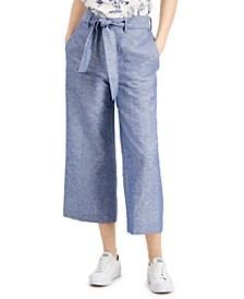 Chambray Wide-Leg Belted Pants, Created for Macy's