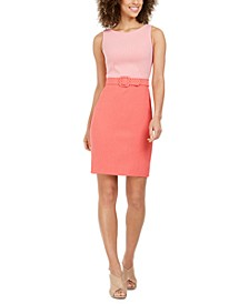 Two-Tone Belted Sheath Dress