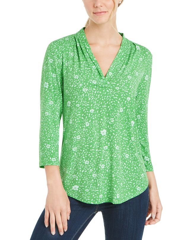 Charter Club Floral Print Pleated V-Neck Top, Created for Macy's