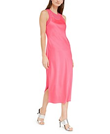 Satin Layered-Look Midi Dress