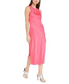 Satin Layered-Look Midi Dress