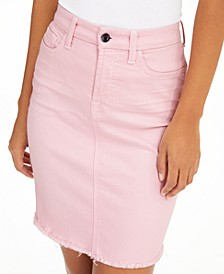 Raw-Hem Colored Denim Pencil Skirt