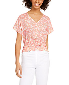 Planet Gold Floral-Print Smocked-Waist Top