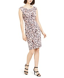 Petite Printed Ruched Sheath Dress