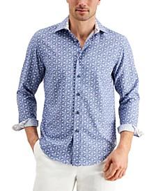 Men's Slim-Fit Performance Stretch Leaf-Print Shirt