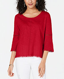 Style & Co Petite Crochet-Trim Bell-Sleeve Top, Created for Macy's